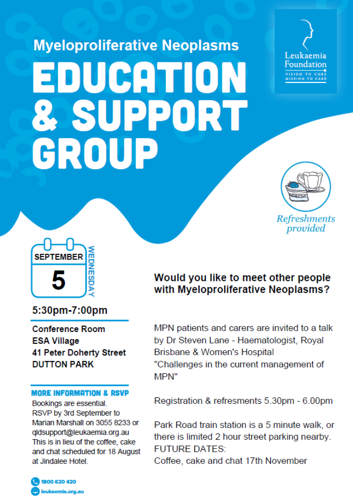 MPN Education & Support Group - Queensland - MPN Alliance